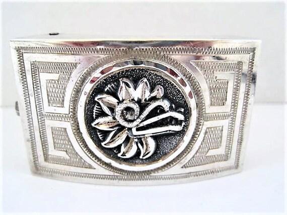 Sterling Belt Buckle, Signed ACE Guadalajara, Hecho in Mexico Enamel Flower, Modernist Design Buckle