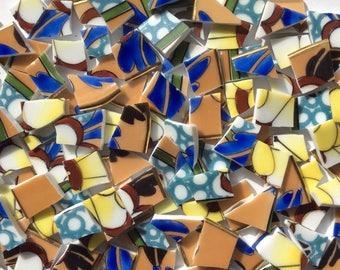 ON SALE 100 Butterscotch Aqua Blue Lusterware Vintage China Hand Cut Tiles//Mosaic//Mosaic Tiles//Broken Dish//Craft