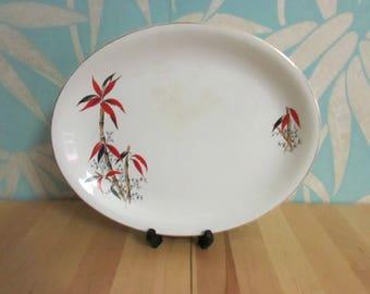 "1950s Barratts England ""Delphatic China"" bamboo design platter"
