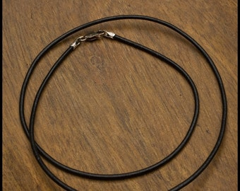 1.5mm Black Leather Cord Necklace - 16 or 18 inch