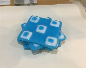 Turquoise & white fused glass coasters
