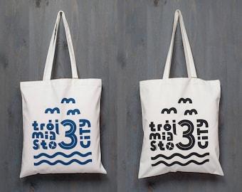 3CITY tote bag, black&white, holiday, seaside, navyblue, cotton, silksreen, print, pixel, minimal