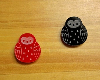 Laser Cut Acrylic Brooch Owl red or black or blue - SALE!