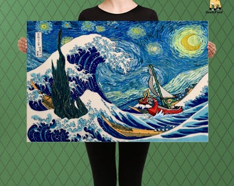 The Legend of Zelda Inspired Parody, The Great Wave Under a Starry Night, Link Meets the Dark Tower, Custom Raised Canvas Art Piece