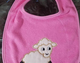 Pink Baby Bib Appliqued with a White Lamb