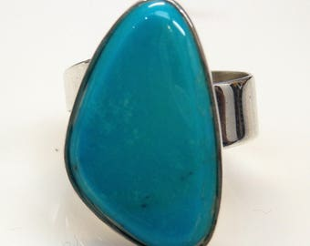 Sterling Silver Cabochon Cut Blue Turquoise Designed Ring #253645352443