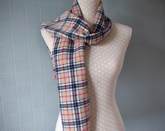 Beige tartan scarf, red tartan scarf, red/beige plaid scarf, Scottish tartan scarf