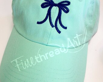 LADIES Southern Bow Baseball Cap Hat LEATHER strap Monogram Preppy Bachelorette Pigment Dyed Sweet South Southern Y'all