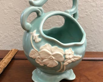 Weller Pottery Basket, Vase, Bowl With Handle