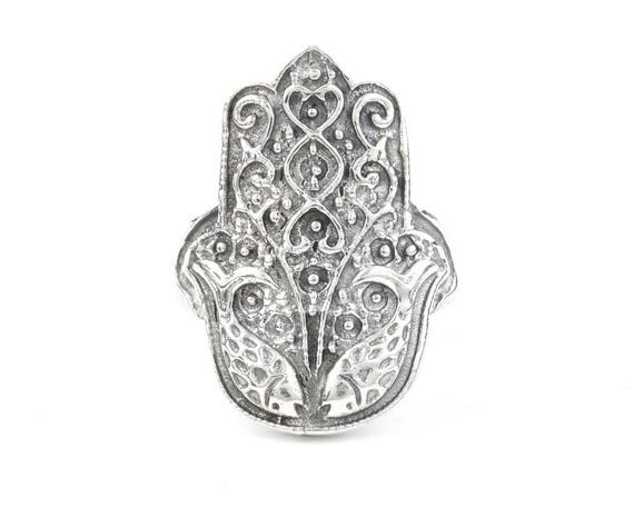 Large Hamsa Ring, Sterling Silver Ring, 925, Boho, Gypsy, Hand, of Fatima, Festival Jewelry, Hippie Jewelry, Spiritual