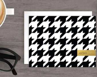 Custom stationery, Personalized folded note cards, Custom cards, Bespoke Stationery, Houndstooth personalized note cards, JJD-HNDSTH-A2