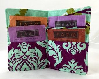 Purple Tea Wallet - Tea Bag Wallet - Tea Bag Case - Tea Bag Holder - Tea Holder - Tea Bag Caddy Organizer  -Joel Dewberry Plum Damask