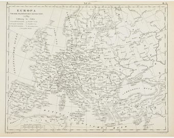 1857 Map of Europe - Original Antique Map - JG Heck - 12x9 - Iconographic Encyclopaedia - Engraved Map