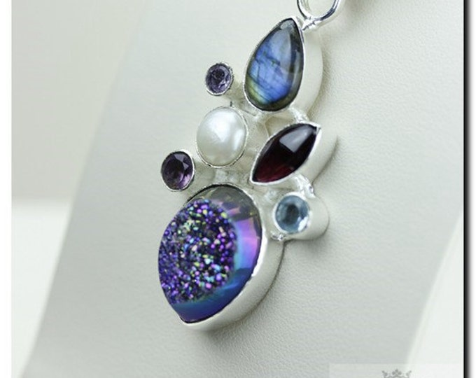 Made in Italy! Titanium Drusy Druzy Labradorite Pearl 925 SOLID Sterling Silver Pendant + 4mm Snake Chain & FREE Worldwide Shipping p1867