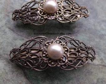 Hair Barrette Victorian small barrette  antique gold and faux pearl barrette hair clip