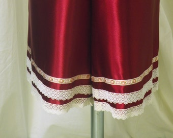 Red Satin Bloomers, Pantaloons, Knickers w/ Ivory Lace Trim & Woven Ribbon Accent for Steampunk Bloomers, Size M/L