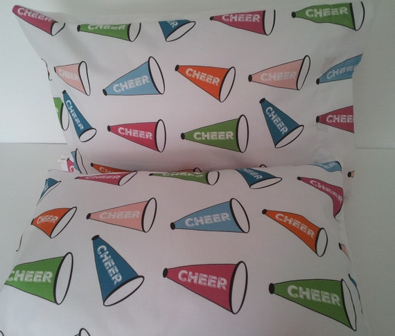 Cheer Pillow Case and sham 12x16 Travel Pillow Case, Girls School Team Spirit Decor, Colorful Pillow Toddler, Tween, Teen, READY to SHIP