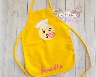 Kids personalized apron, emoji apron, chef emoji apron, yellow apron, embroidered emoji apron, kids chef apron, girls chef apron