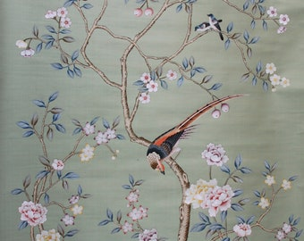 "SALES IN STOCK Chinoiserie handpainted wallpaper in green silk: panel size 52"" x 85"""
