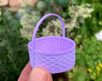 Round Basket with Handle Kit, 1:12 Scale Miniature