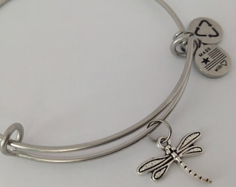 Dragonfly, Dragonfly Charm Bracelet, Silver Dragongfly Charm Bracelet, Expandable Wire Bangle Bracelet, Silver Stainless Bangle
