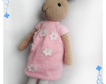 Knitted Bunny Rabbit, Stuffed Toy in Dress, Stuffed Bunny, Stuffed Animal, Soft Toy, Knitted Bunny. Easter. rabbit knit toy