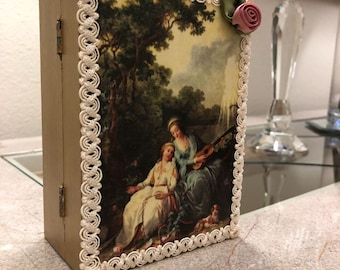 Hand-Painted Wooden Box With Decoupage Finish