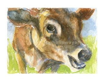 Calf Print, Calf Watercolor, Calf Art, Farm Art, Farm Print, Animal Print,Calf