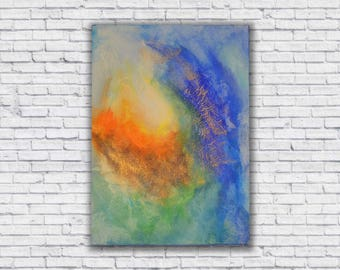 Vibrant blues and oranges abstract canvas