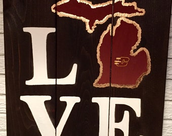 LOVE Central Michigan University Wooden Sign
