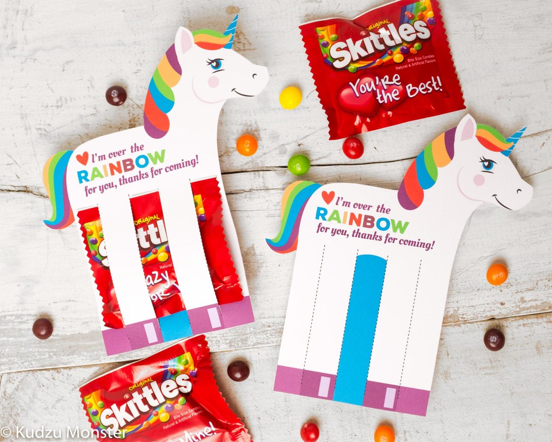 Rainbow Unicorn Birthday Party Favor Holds Fun Size Skittles
