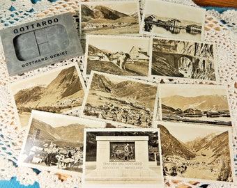 Gotthard Pass Vintage Photograph Postcards, Switzerland Countryside, Souvenir Folder, Switzerland Sepia Postcards