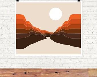 Desert Dusk Ravine Abstract Landscape Desert Landscape Red Rocks Mountain Print Retro Poster Abstract Giclee Print 70s Seventies