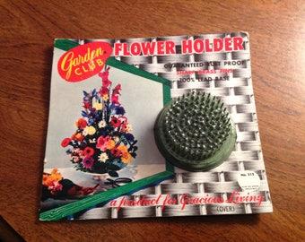 Vintage 1960's--Garden Club--Flower Frog--Flower Holder--New Old Stock--Sealed--Great Graphics