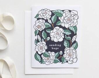 Sympathy Card, Floral Sympathy Card, Sending Hugs Card Floral Card, Gardenia Card for Gardener, Botanical Card Sympathy Card Friendship Card