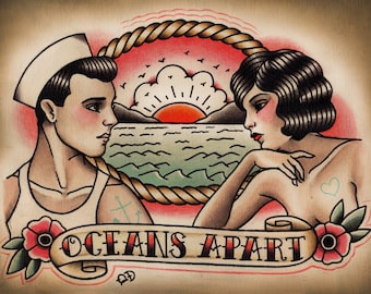 Oceans Apart Traditional Tattoo Print