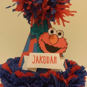 Elmo Personalized Name Party Hat 1st First Birthday Custom Made Smash Cake High Chair Photo Shoot Birthday Decor