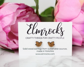 Folk Scandi Small Bird Stud Earrings - Solid Wood - Laser Cut