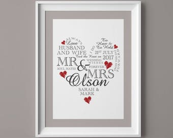 Wedding Day Print Personalised Word Art Gift Marriage Present Heart PRINT ONLY A4