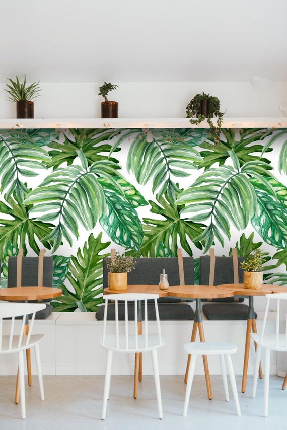 Removable Wallpaper Mural Peel & Stick Exotic Monstera Leaves
