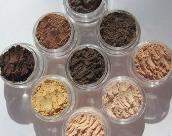 Vegan Mineral Eye Shadows Makeup Gift Set | Eco-friendly | Loose Pigments Cruelty-Free | Nine Semi-Matte/ Matte Shades | Vegan Gift Sets