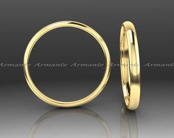 Women Gold Wedding Ring, Wedding Band For Woman, 2.00 MM Wide Half Rounded 14K Yellow Gold Wedding Band, Comfort Fit
