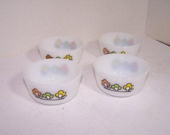 4 Vintage Fire King Custard Cups