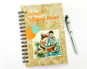 Down Singing River, Recycled Book Journal, Notebook