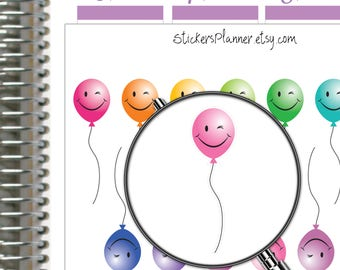 Balloon Stickers Birthday Planner Stickers for Erin Condren Planner Happy Planner Birthday Stickers Kawaii Stickers Kawaii Planner (i56B)