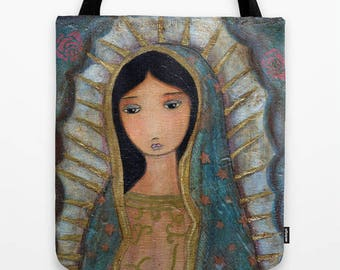 Virgen de Guadalupe - Tote Bag  (13 x 13 inches) by FLOR LARIOS
