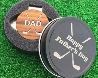 """Fathers Day """"DAD"""" Teak Wood golf ball marker hat clip with OPTIONAL tin"""