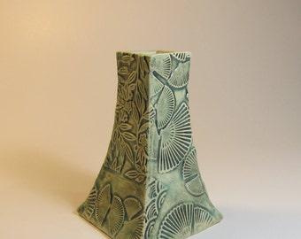 Handmade Square Ceramic Vase, Flower vase, Textured pottery, Unique gift idea, READY TO SHIP