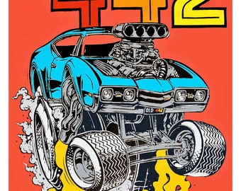 Ed Roth Olds 442 hot rod poster