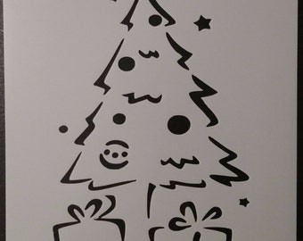 Christmas Tree With Gifts Presents Custom Stencil FAST FREE SHIPPING